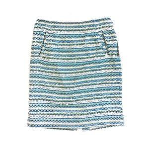{Halogen} Blue Tweed Pencil Skirt Pockets